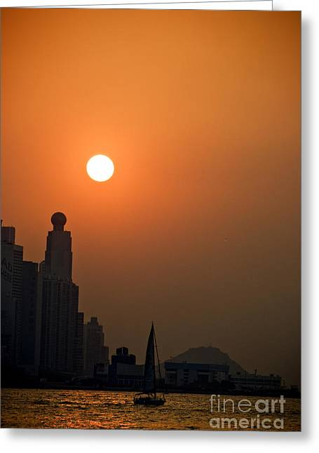Hong Kong Coast Greeting Card by Ray Laskowitz - Printscapes