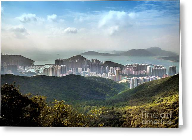 Hong Kong From Victoria Peak Greeting Card by Lynn Bolt