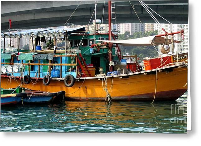 Hong Kong Harbor 20 Greeting Card by Randall Weidner