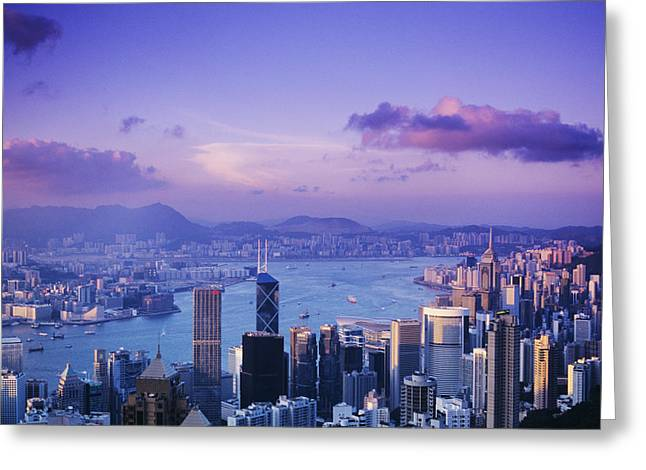 Hong Kong Harbor Greeting Card by Gloria & Richard Maschmeyer - Printscapes