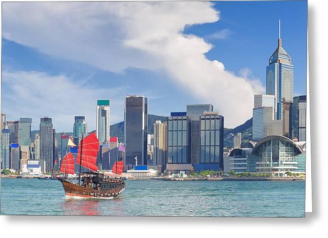 Hong Kong Harbour Greeting Card by Anek Suwannaphoom
