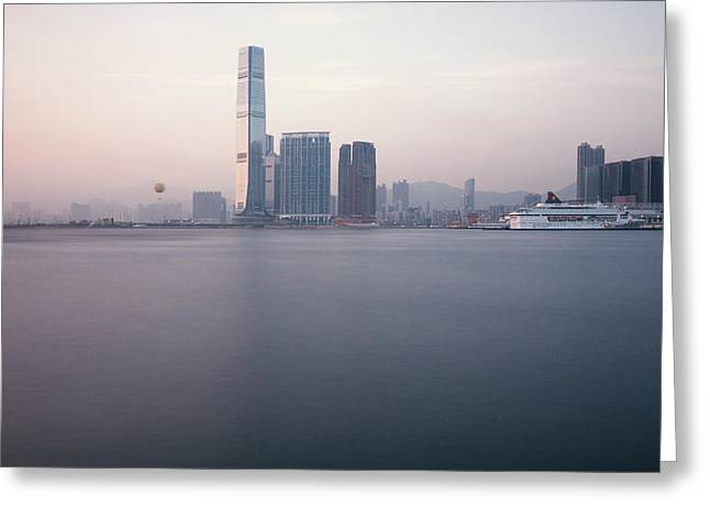 Sea View Greeting Cards - Hong Kong harbour view Greeting Card by Kam Chuen Dung