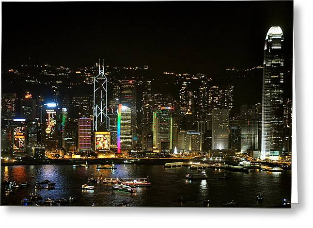 Hong Kong On A December Night Greeting Card