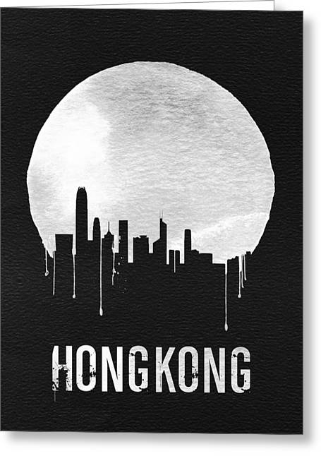 Hong Kong Skyline Black Greeting Card