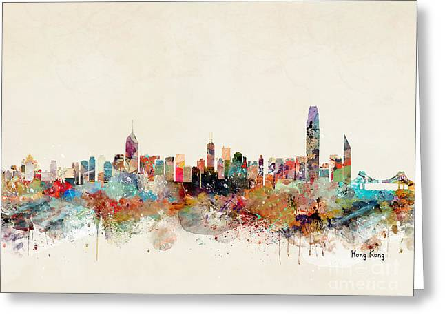 Greeting Card featuring the painting Hong Kong Skyline by Bri B