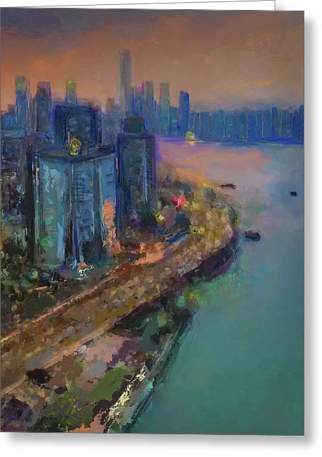 Hong Kong Skyline Painting Greeting Card