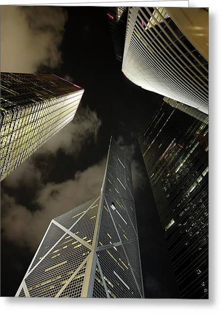 Sami Sarkis Photographs Greeting Cards - Hong Kong skyscrapers at night Greeting Card by Sami Sarkis