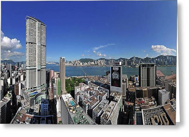 Hong Kong View From Tsim Sha Tsui, Kowloon To Hongkong Island Greeting Card