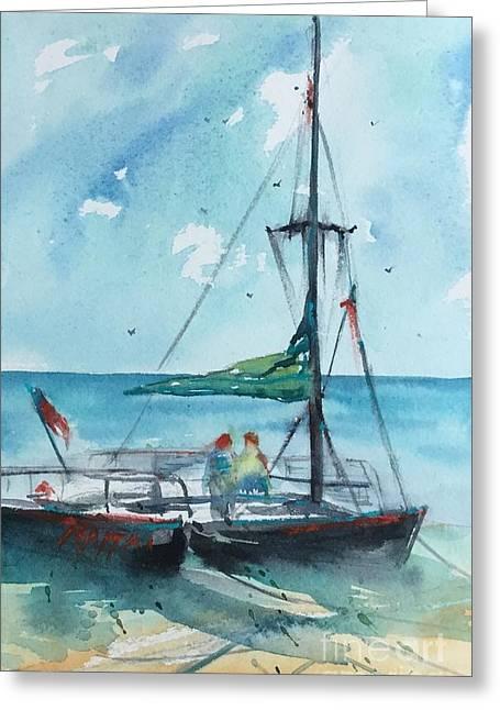 Honolulu Catamaran Greeting Card by Carolyn Zbavitel