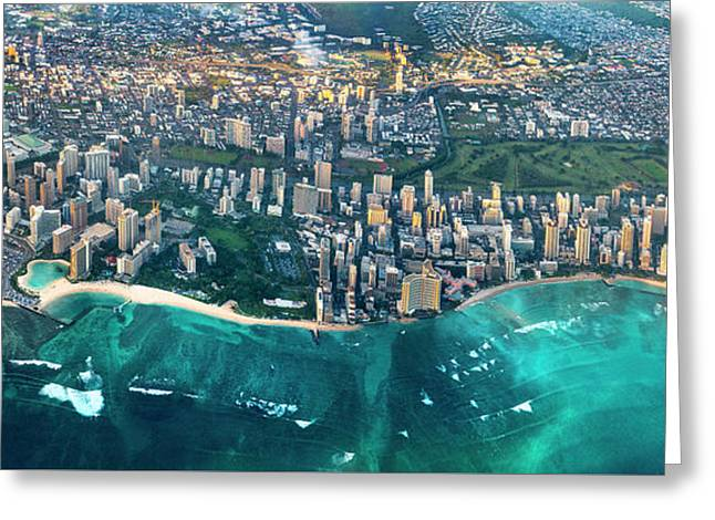 Honolulu From High Greeting Card by Sean Davey
