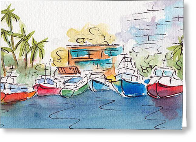 Honolulu Marina Greeting Card by Pat Katz
