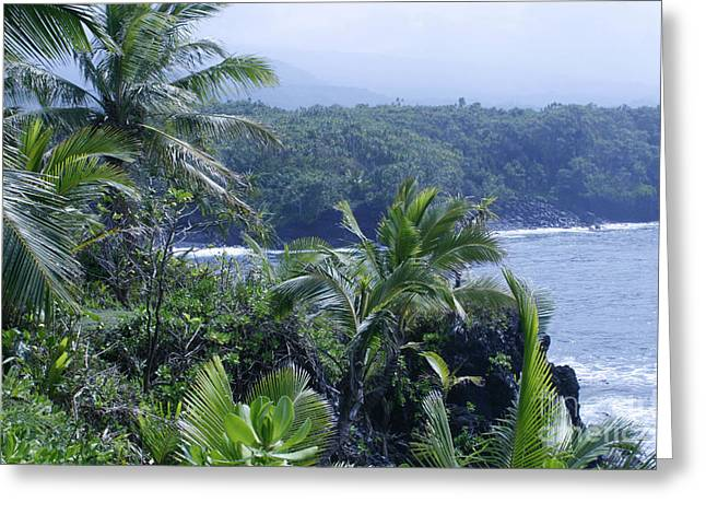 Honomaele Near Mokulehua At Hale O Piilani Heiau Hana Maui Hawaii Greeting Card by Sharon Mau