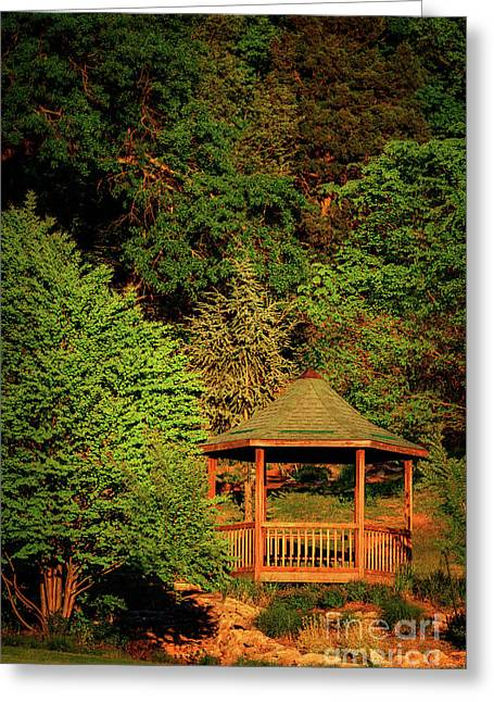 Honor Heights Gazebo In Vertical Greeting Card by Tamyra Ayles
