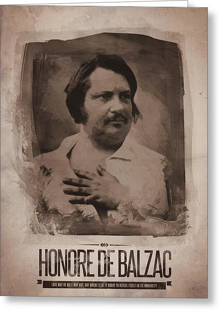 Honore De Balzac Greeting Card by Afterdarkness