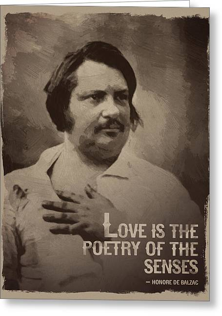 Honore De Balzac Quote Greeting Card by Afterdarkness