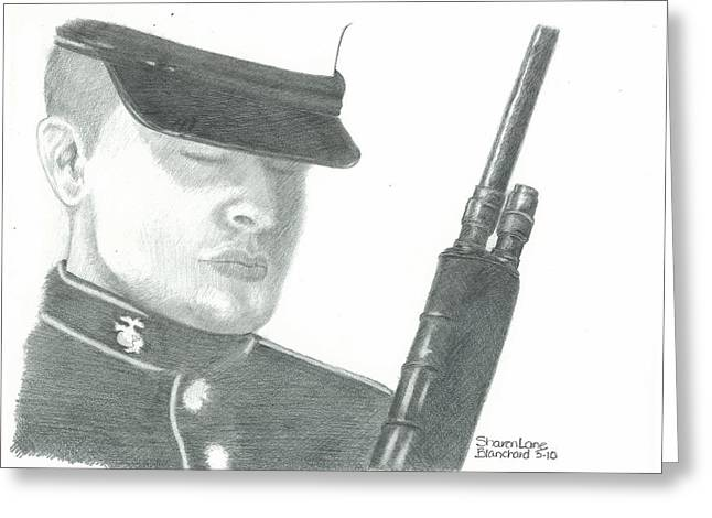 Honoring The Corps Semper Fi Greeting Card by Sharon Blanchard