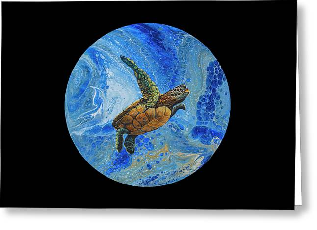 Greeting Card featuring the painting Honu Amakua On Black by Darice Machel McGuire