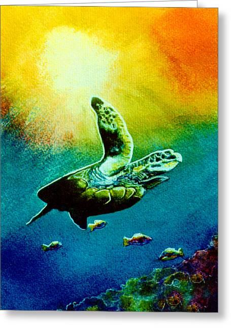 Honu Hawaiian Sea Turtle #154  Greeting Card by Donald k Hall