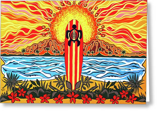 Honu Surf Greeting Card by Debbie Chamberlin