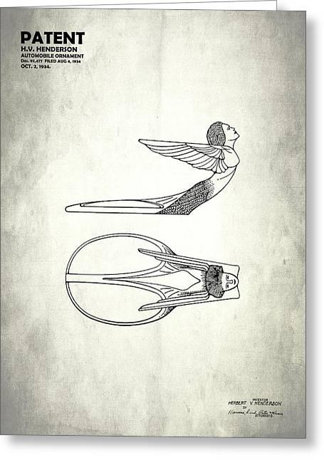 Hood Ornament Patent 1934 Greeting Card by Mark Rogan