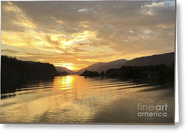 Hood River Golden Sunset Greeting Card