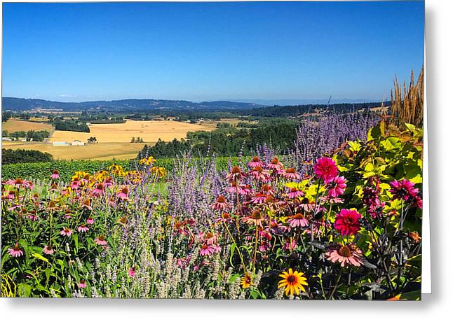 Hood River Valley Flowers Greeting Card by Brian Governale