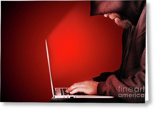 Hooded Computer Hacker Red Background Greeting Card