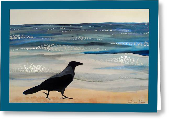 Hooded Crow At The Black Sea By Dora Hathazi Mendes Greeting Card