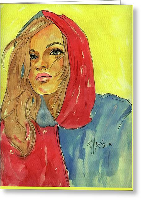 Greeting Card featuring the painting Hoody by P J Lewis