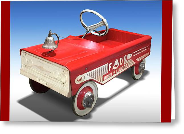 Hook And Ladder Peddle Car Greeting Card