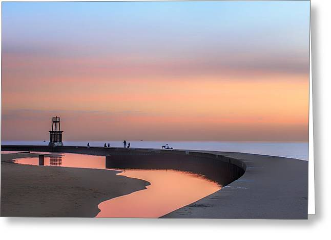 Hook Pier Lighthouse - Chicago Greeting Card by Nikolyn McDonald