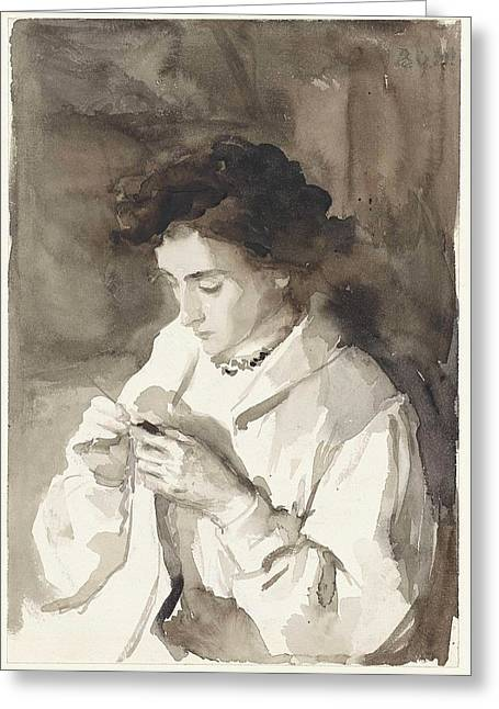 Hooking Woman Bramine Hubrecht Greeting Card