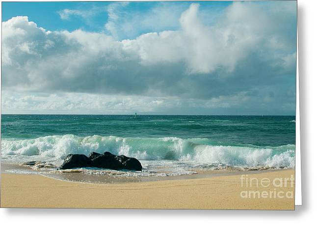 Hookipa Beach Pacific Ocean Waves Maui Hawaii Greeting Card by Sharon Mau