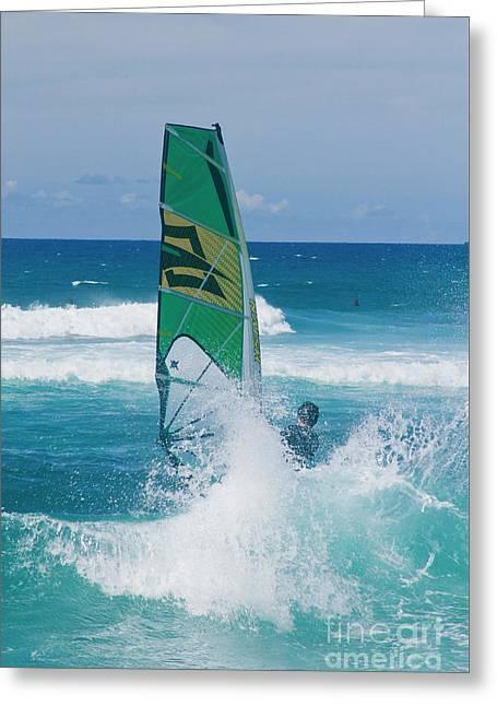 Hookipa Windsurfing North Shore Maui Hawaii Greeting Card by Sharon Mau