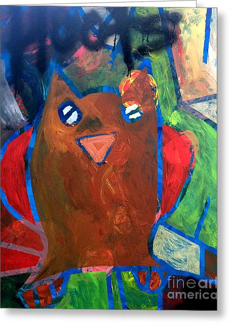 Greeting Card featuring the painting Hoots The Fall Owl by Janelle Dey