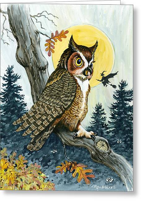 Moonlight Greeting Cards - Hooty Hoot Greeting Card by Richard De Wolfe