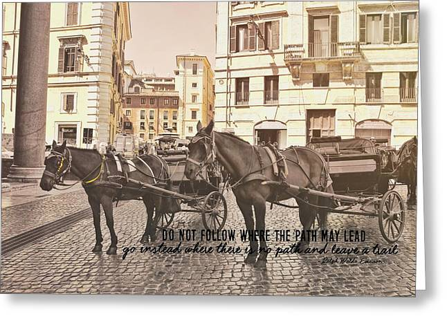 Greeting Card featuring the photograph Hooves On Cobblestone Quote by Dressage Design