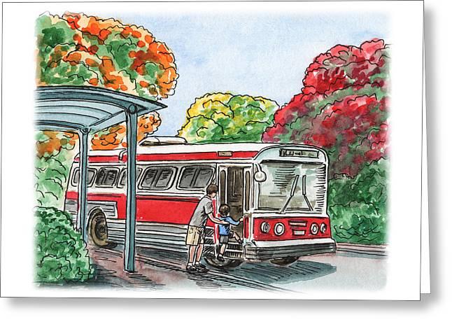 Hop On A Bus Greeting Card by Irina Sztukowski