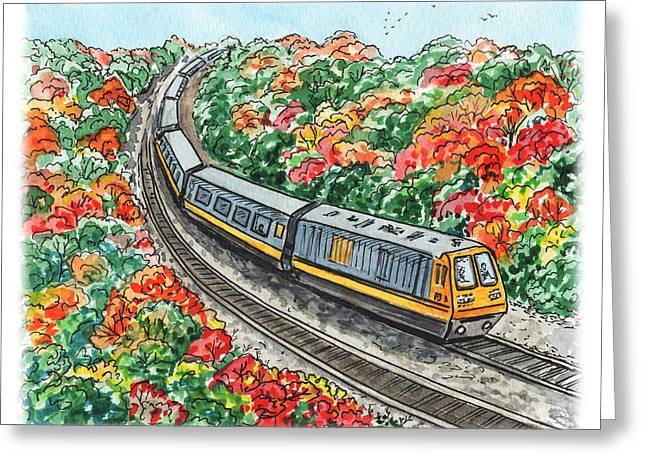 Hop On A Train Greeting Card by Irina Sztukowski