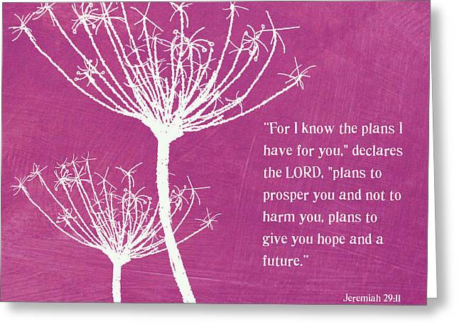 Jeremiah Mixed Media Greeting Cards - Hope and Future Greeting Card by Linda Woods