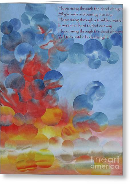 Hope Rising - With Poem Greeting Card by Jeni Bate