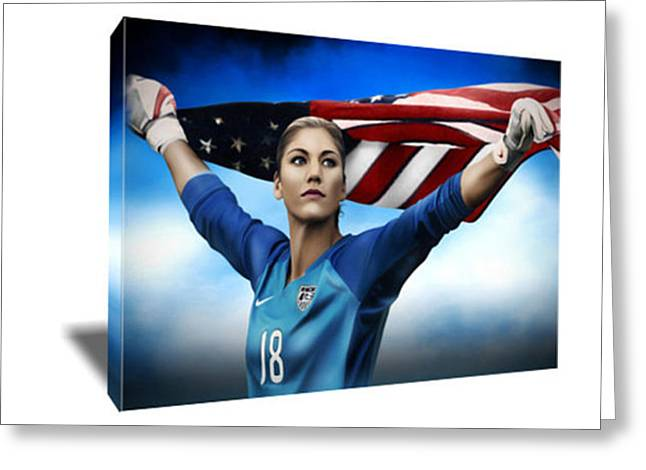 Hope Solo World Cup Champ Canvas Art Greeting Card