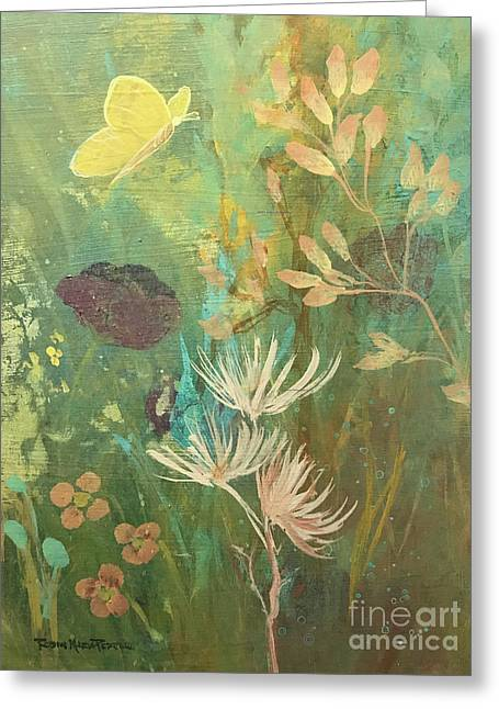 Greeting Card featuring the painting Hopeful Golden Wings by Robin Maria Pedrero