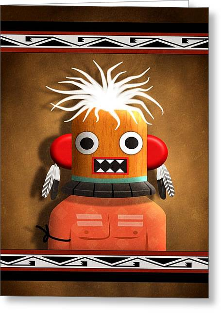 Greeting Card featuring the digital art Hopi Indian Kachina by John Wills
