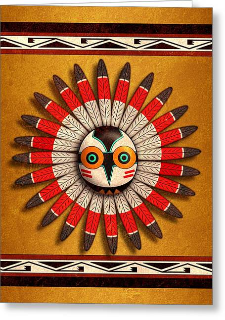 Hopi Owl Mask Greeting Card by John Wills