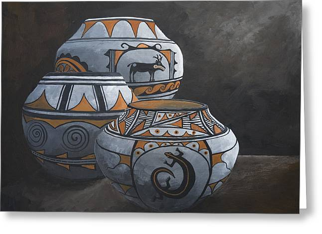 Hopi Pots Greeting Card by Jerry McElroy