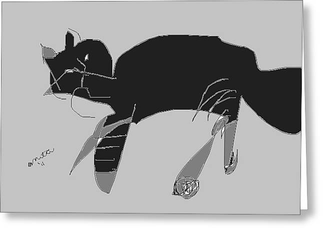 Drawings Of Cats Greeting Cards - Horatio Tobias Greyscale Greeting Card by Anita Dale Livaditis