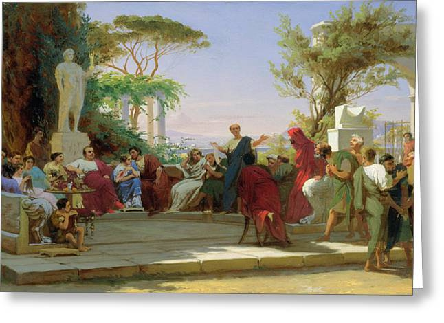 Horatius Reading His Satires To Maecenas Greeting Card