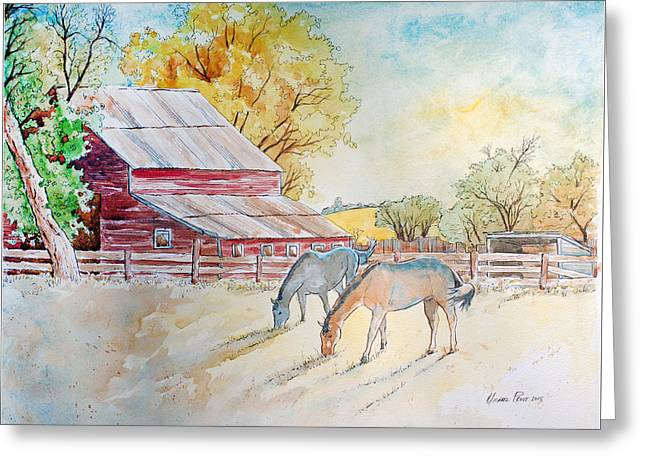 Old Red Barn And Horses In Pasture Greeting Card
