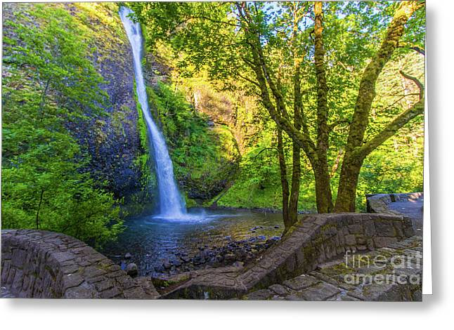 Greeting Card featuring the photograph Horesetail Falls by Jonny D